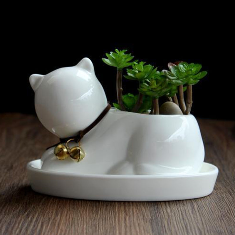 Lovely Creative Ceramic Dog Cat Flowerpot Mini Succulent Plant Container Home Office Decorations white