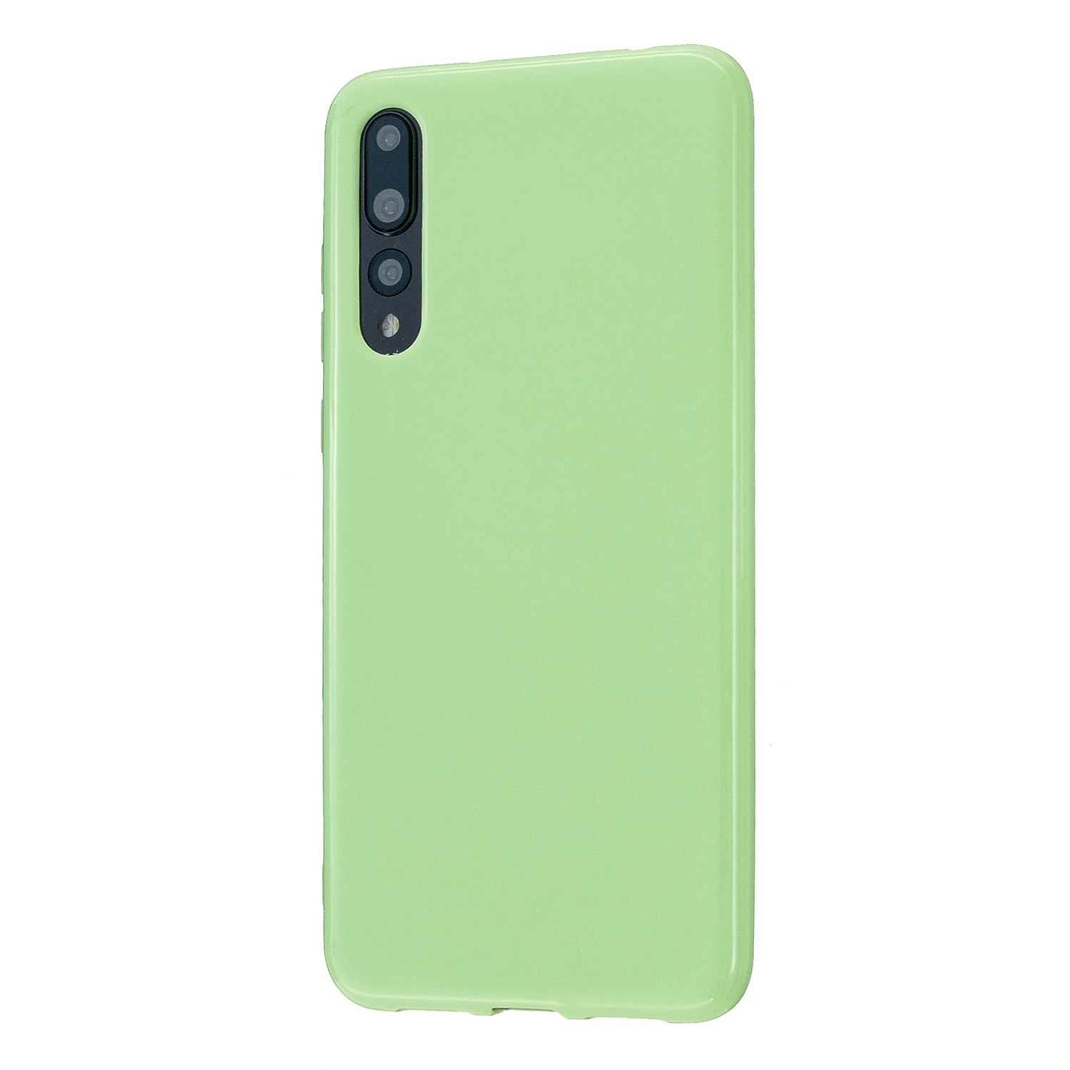 For HUAWEI P20/P20 Lite/P20 Pro Cellphone Case Simple Profile Soft TPU Phone Case Anti-Slip Smartphone Cover Fluorescent green