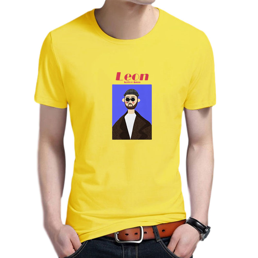 Women Men T Shirt Fashion Loose Short Sleeve Tops for Couple Lovers Yellow male_L
