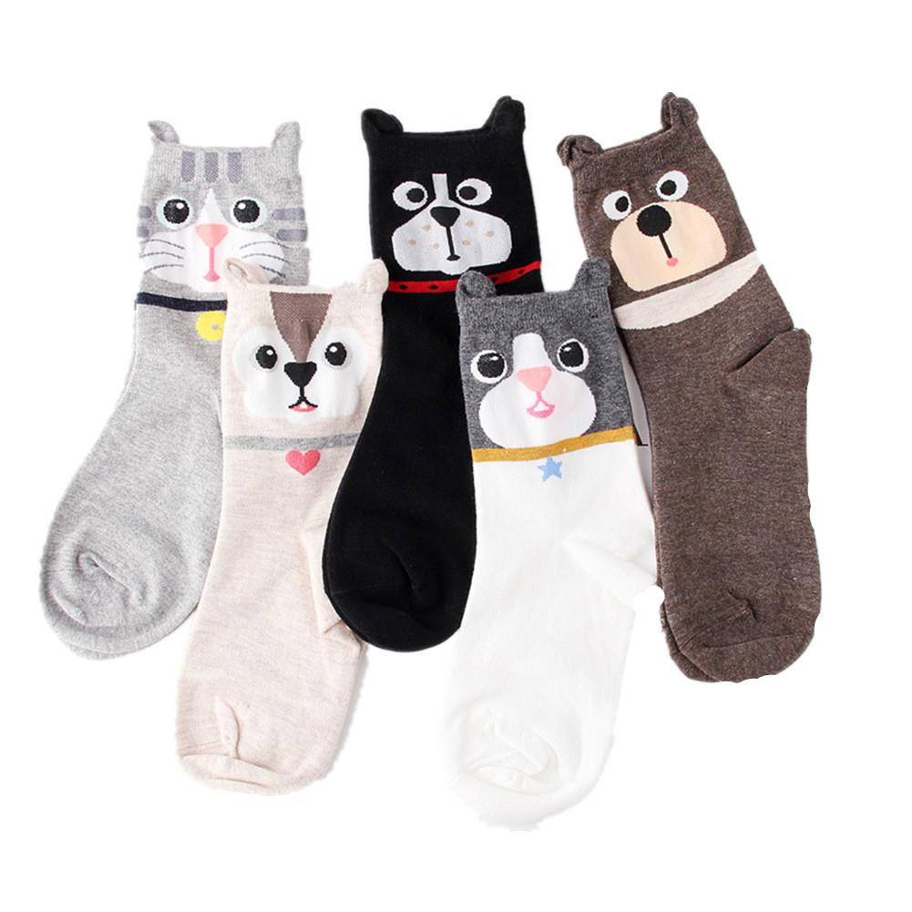 5 Pcs Lovely Dog Cat Ear Cartoon Socks Pure Cotton Antibacterial Deodorant Socks