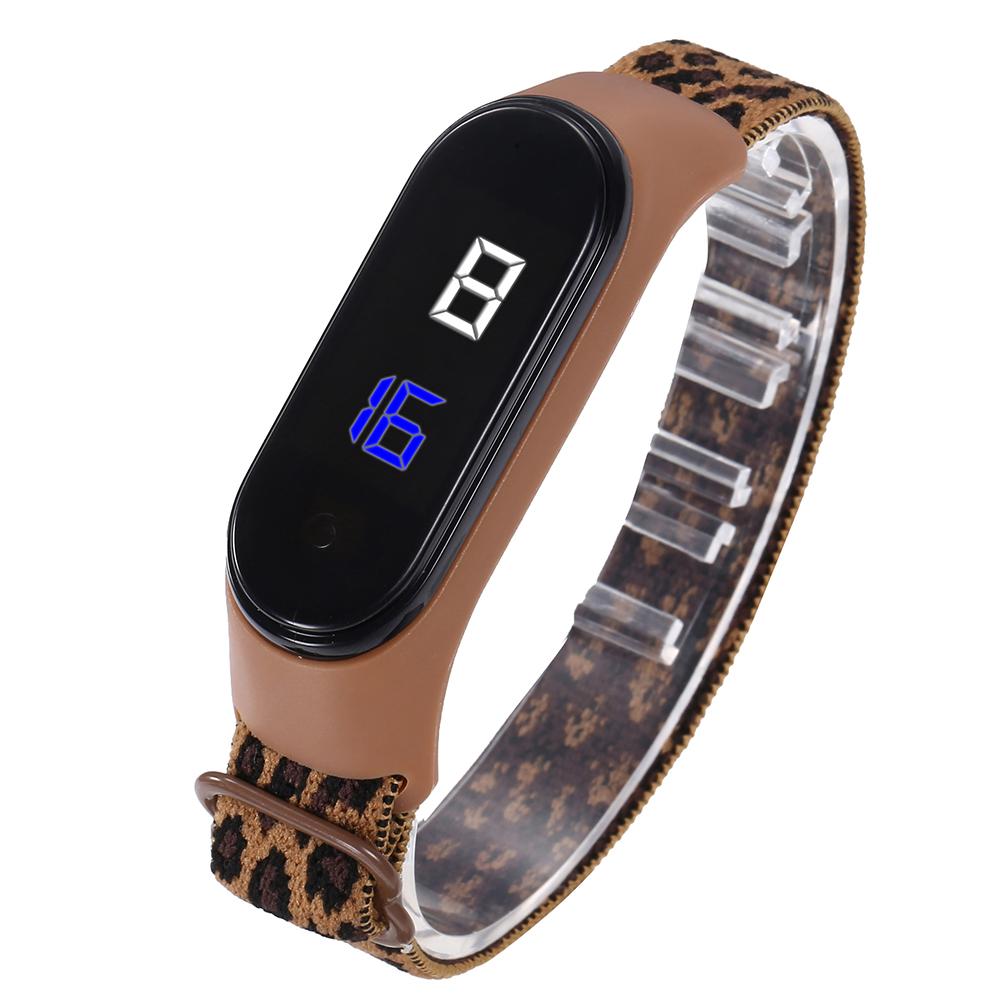 Wrist  Watch Led Waterproof Fashion Touch Sensitive Leopard Print Elastic Bracelet Electronic Digital Watch Coffee