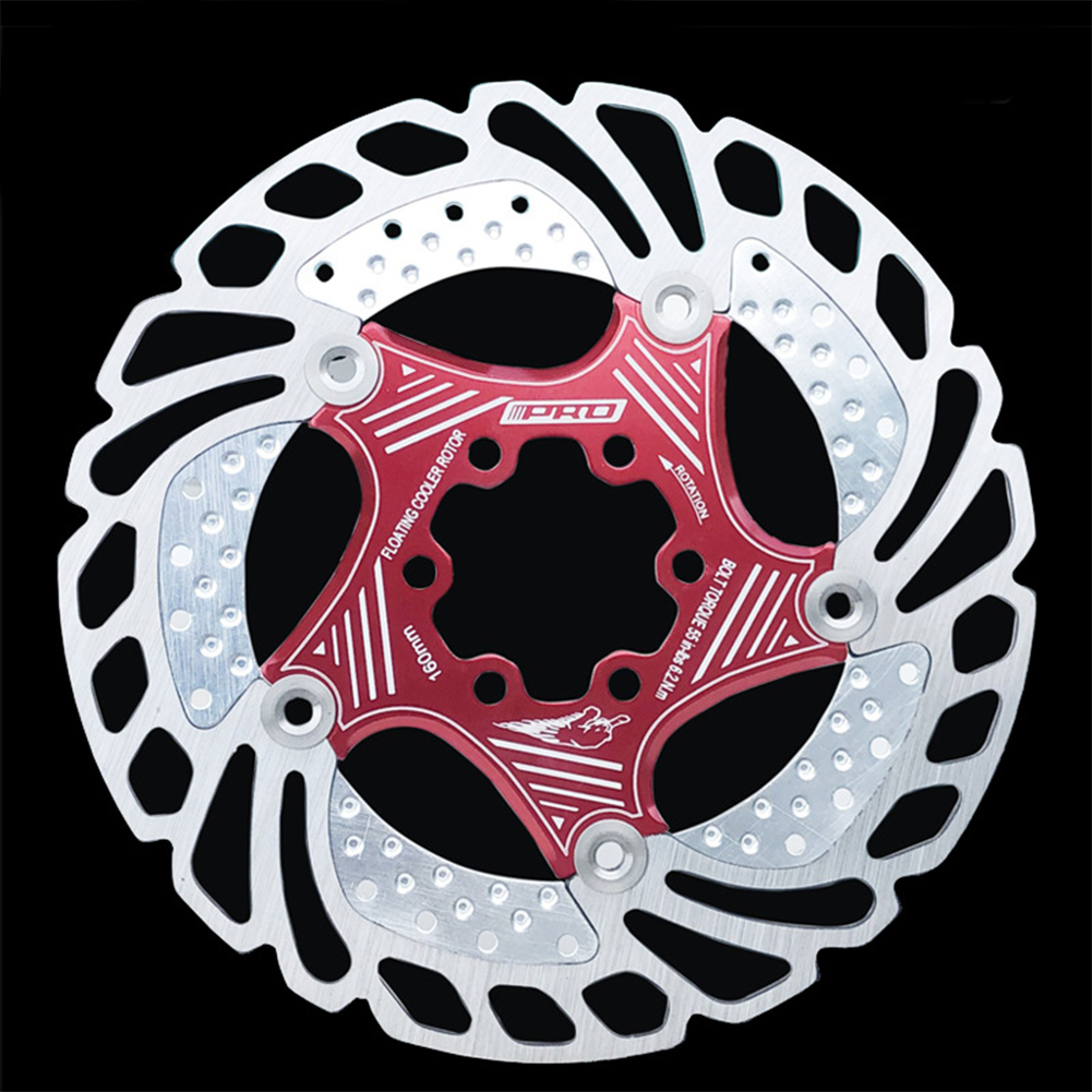 Mountain Bike Down Hill Floating Bicycle Brake 140 180 230 MM Six Nail Disc Cooling Brake Rotors Bicycle Accessories 203MM red (boxed genuine)