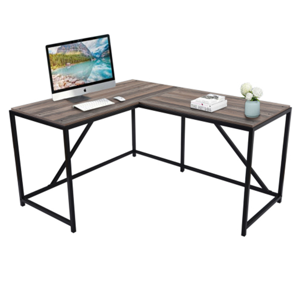 [US Direct] Mdf+metal Frame L-shaped Home Office Computer Desk With Modern Style Easy To Assemble Mahogany Color