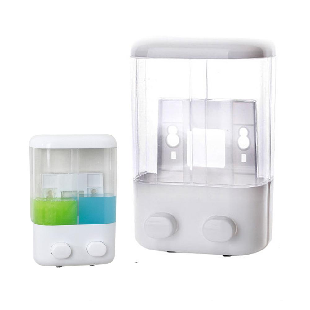 Shampoo Soap Dispenser Shower Washroom Double Gel Liquid Wall Mounted Pump Body Lotion 1000ml Hand Wash  white