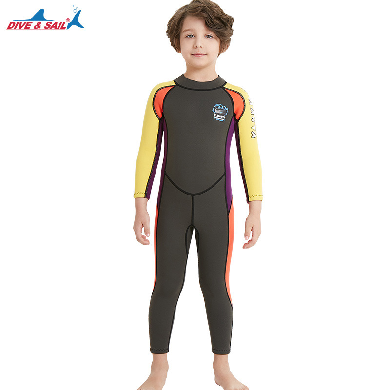 2.5mm Children's High Elastic Scuba Diving Suit Long Sleeve Bathing Suit Army green yellow sleeve_M