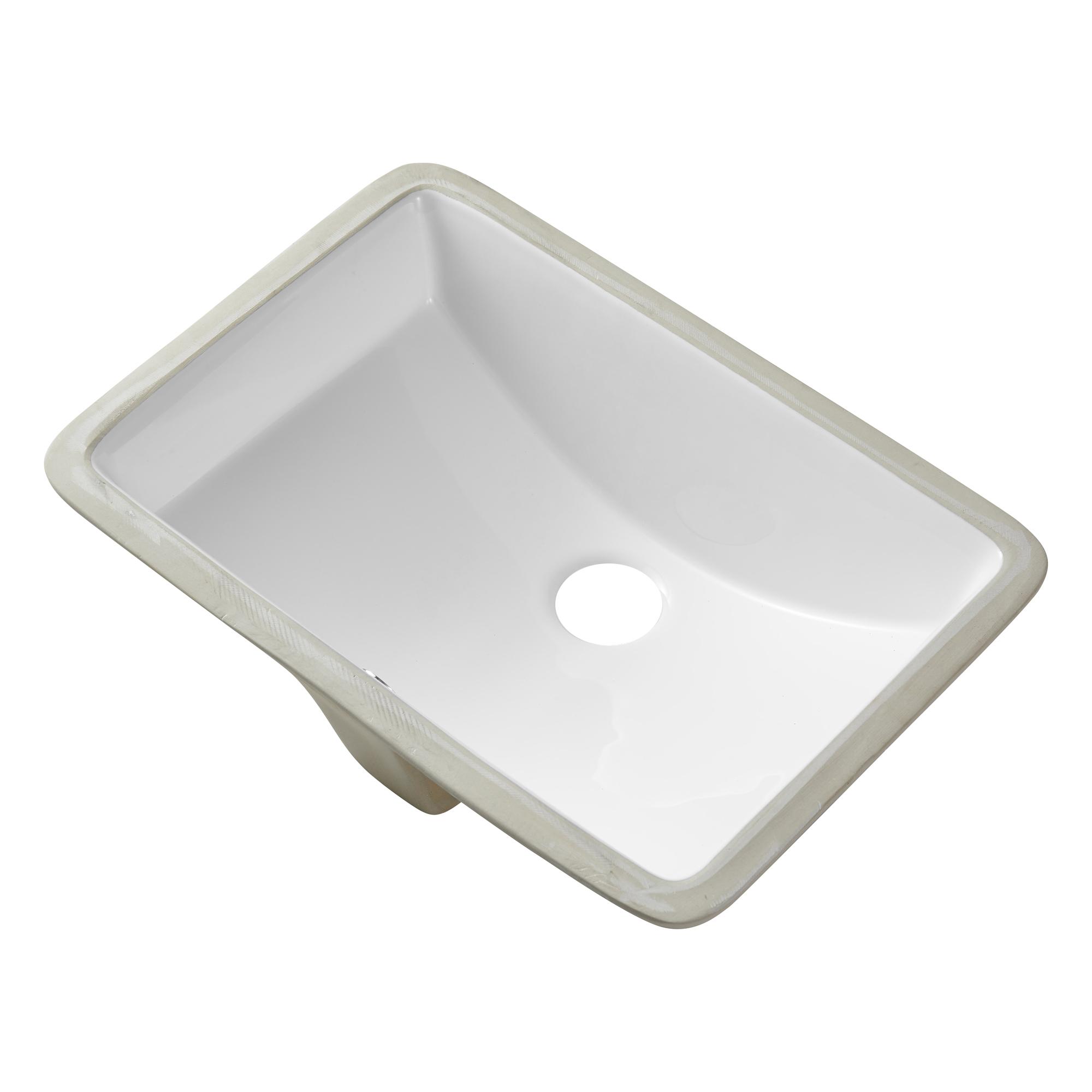[US Direct] Ceramic Rectangular  Undermount White Bathroom  Sink Art Basin