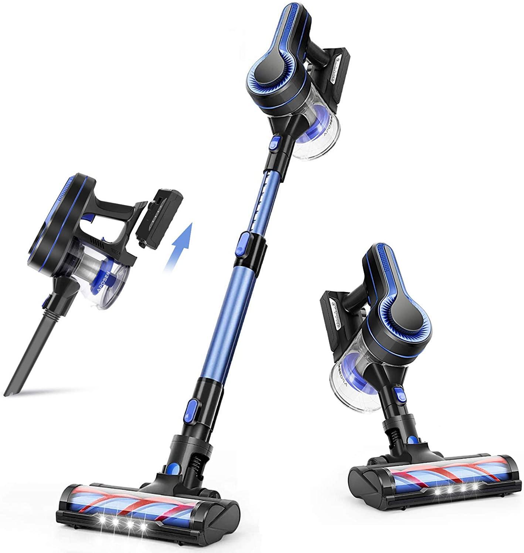 [US Direct] APOSEN Cordless Vacuum Cleaner, 24KPa Powerful Suction 250W Brushless Motor 4 in 1 Stick Vacuum for Home Hard Floor Carpet Car Pet H250 Blue