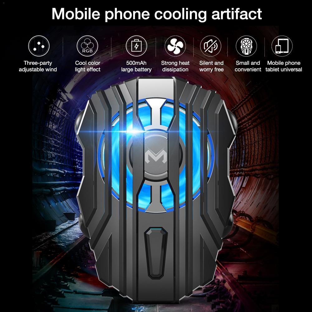 FL01 Mini Radiator Cold Wind Handle Fan for PUGB Mobile Phone Cooler Controller LED Light Cooling Battery