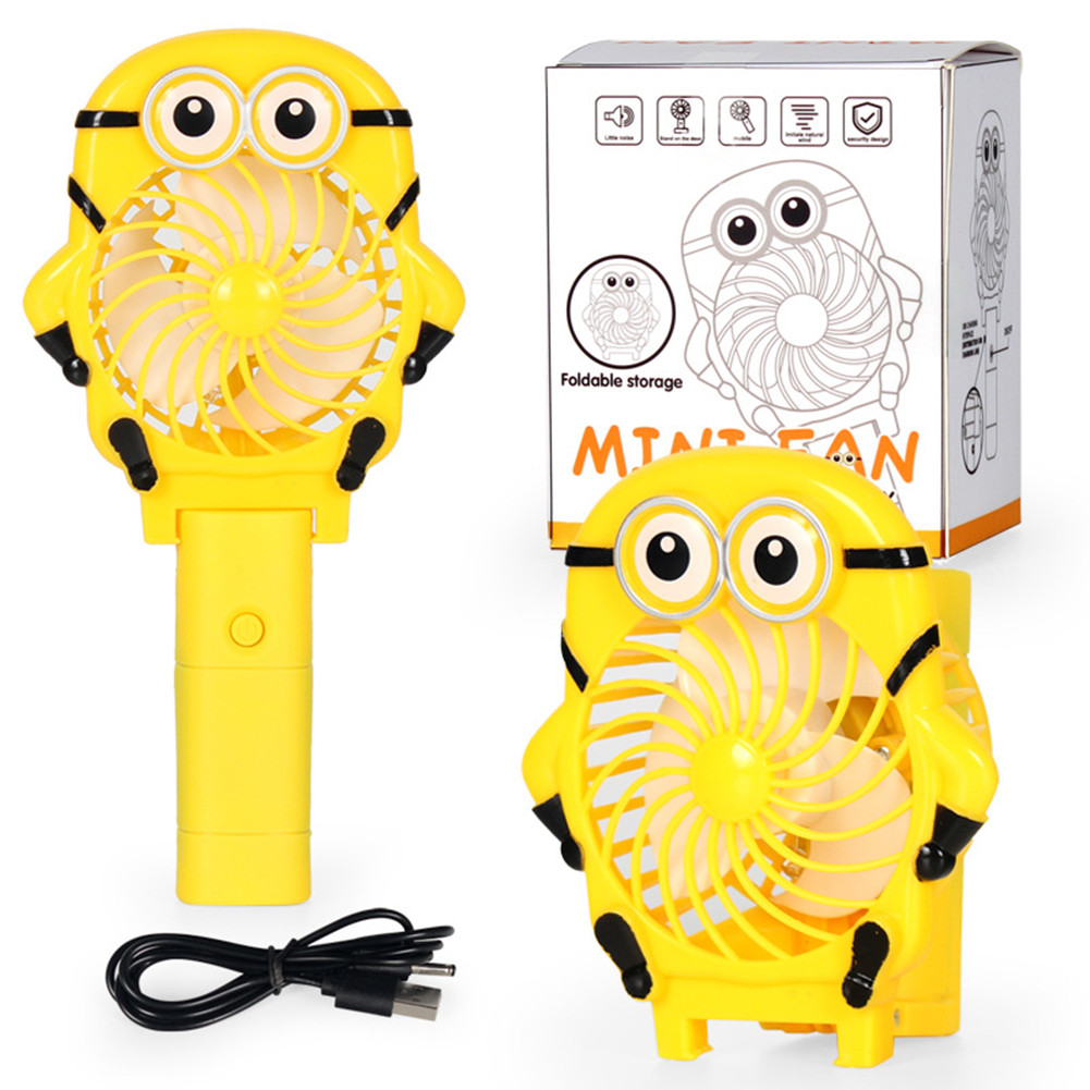 Portable Mini Fan Pocket Foldable Handheld USB Rechargeable Fans Home Office Travel Outdoor yellow_9.5 * 3.5 * 18cm