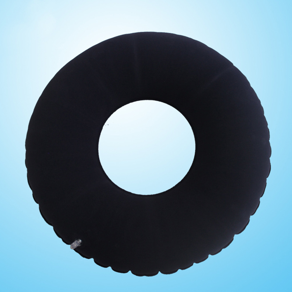 Inflatable Ring Seat Cushion Medical Hemorrhoid Pillow Donut Rubber Inflatable Seat Pad Dark blue round flocking seat cushion_Free size