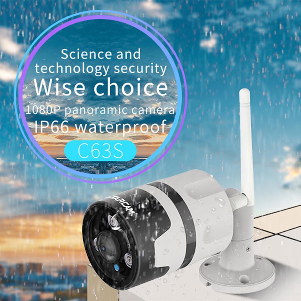 VSTARCAM C63S Outdoor Waterproof Panoramic HD 1080P Wireless WIFI Network Audio Camera  EU plug