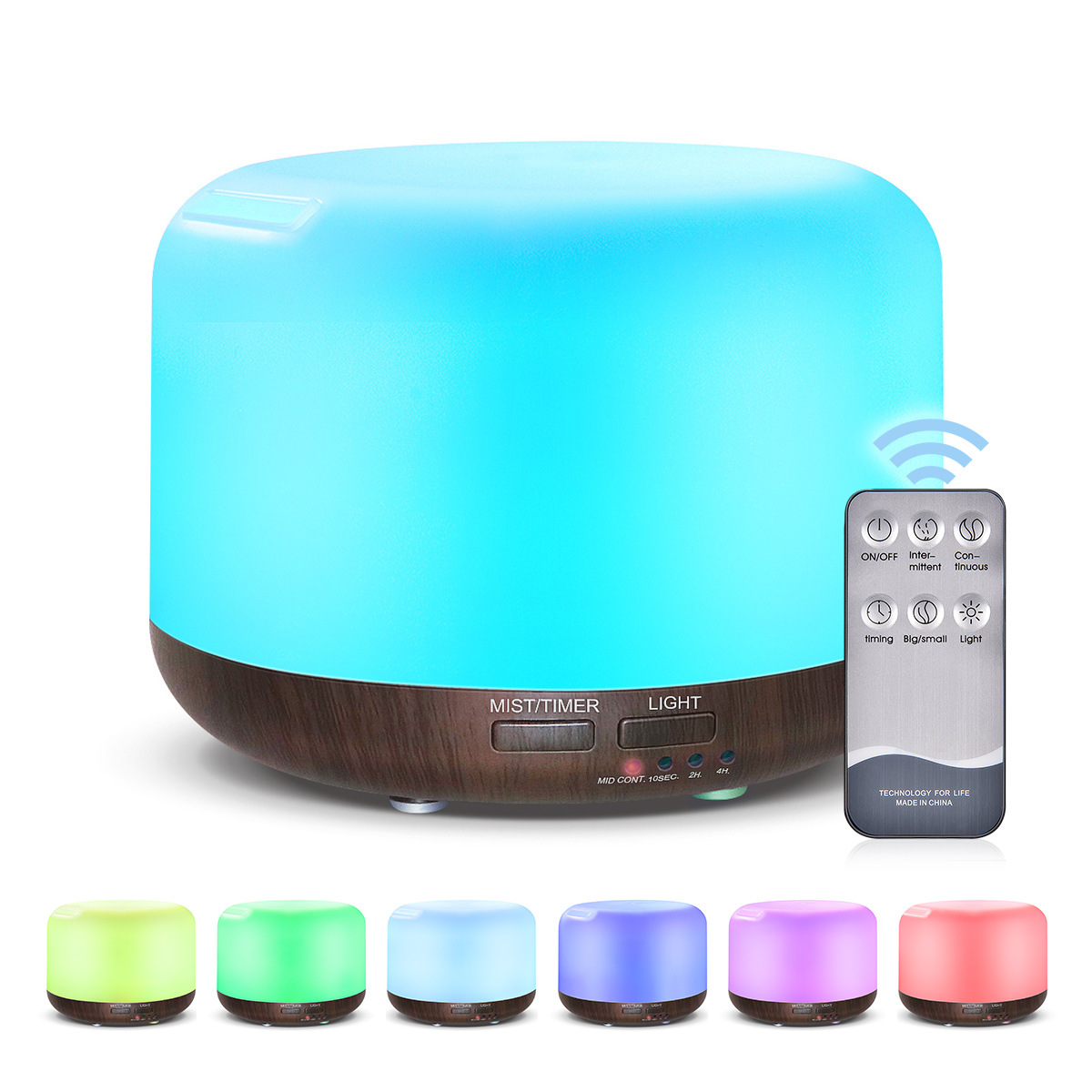 300ml Remote Control Wood Grain Household Fragrance Lamp Ultrasonic Mute Humidifier Deep wood grain remote control_UK Plug