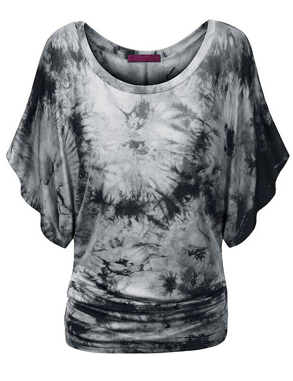 Women Bat Short Sleeve Dolman Drape with Side Shirring Loose Fit T-Shirt Grey White S