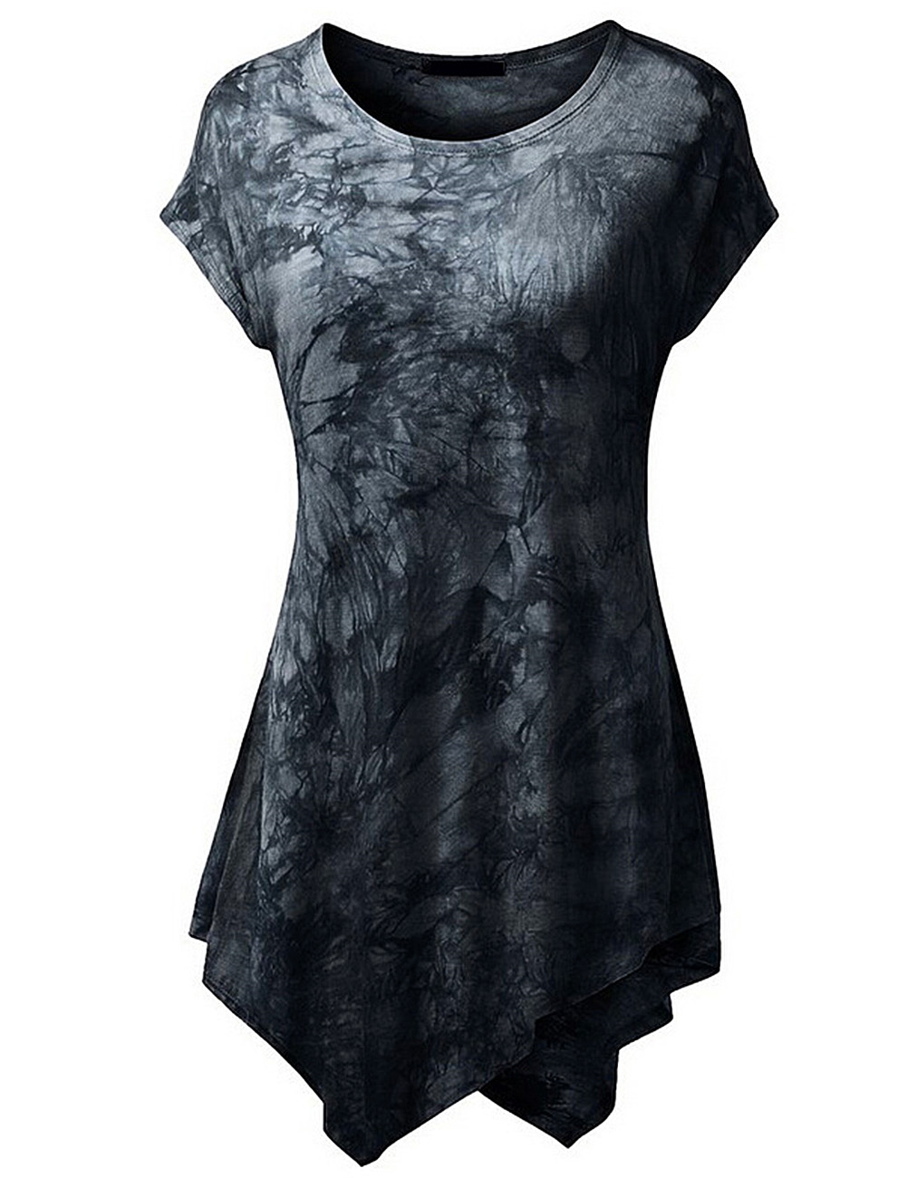 Women Short Sleeve U-Neck Tie-Dye Long Tunic Top Irregular Hem T-shirt Black S