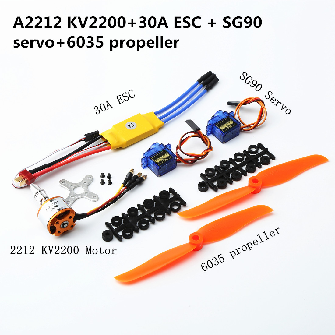 A2212 2200KV Brushless Motor 30A ESC SG90 9G Micro Servo 6035 Propeller for RC Fixed Wing Plane Helicopter default