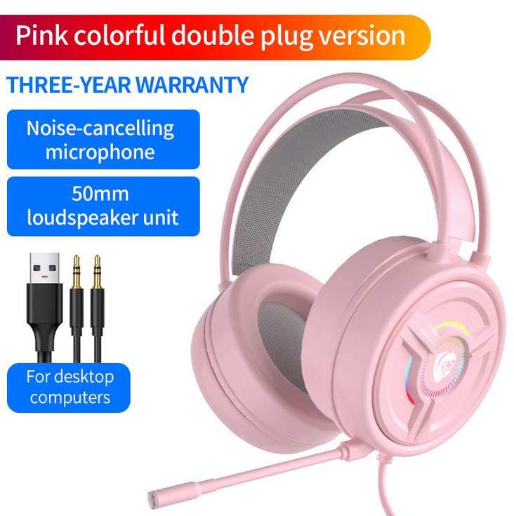 PSH-200 Wired Headset Stereo Sound Noise Reduction Cat Ear-shaped Hifi Colourful Light Headset Pink 3.5MM version