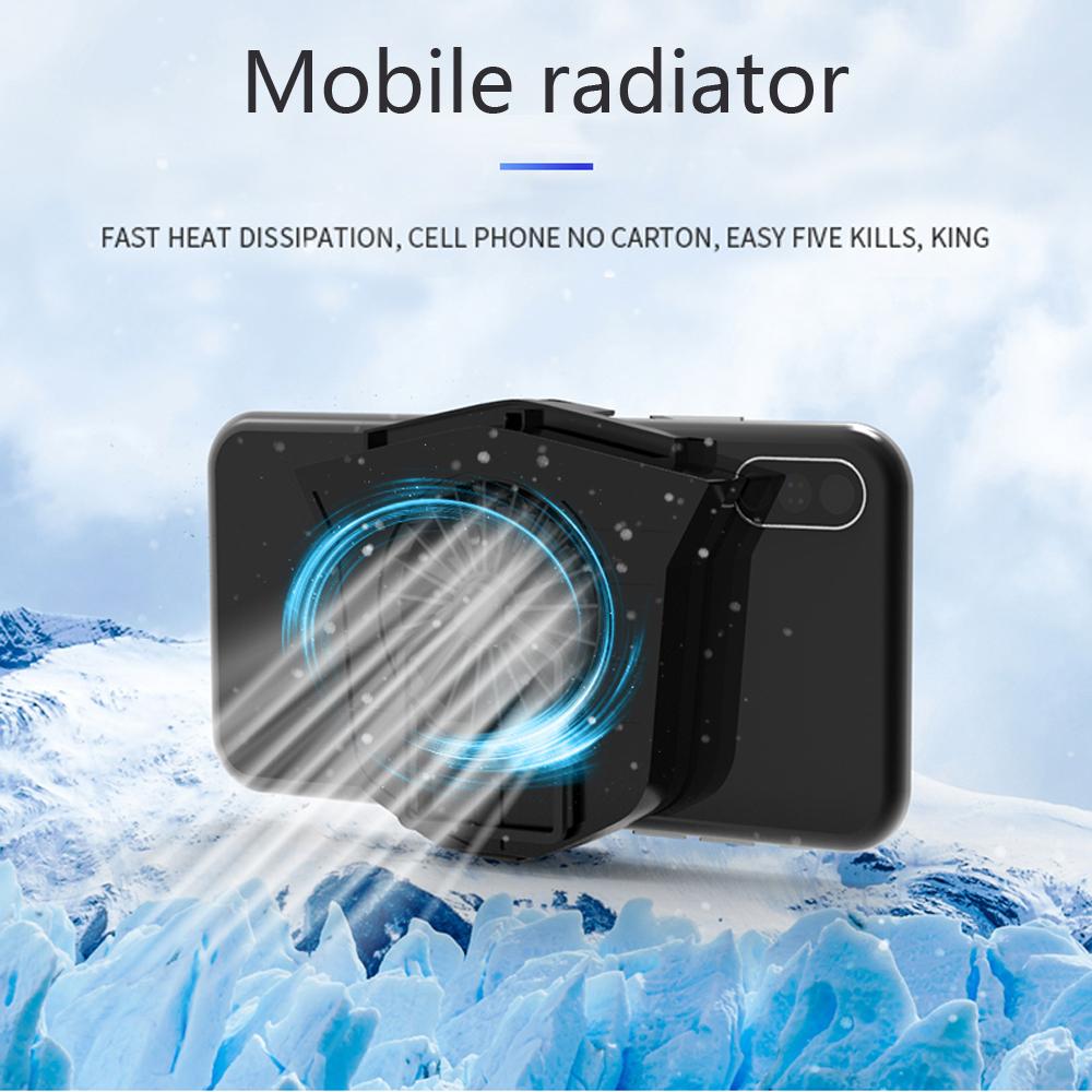 Mini 2 in 1 Multifunction Fan Cooling Radiator Phone Holder black