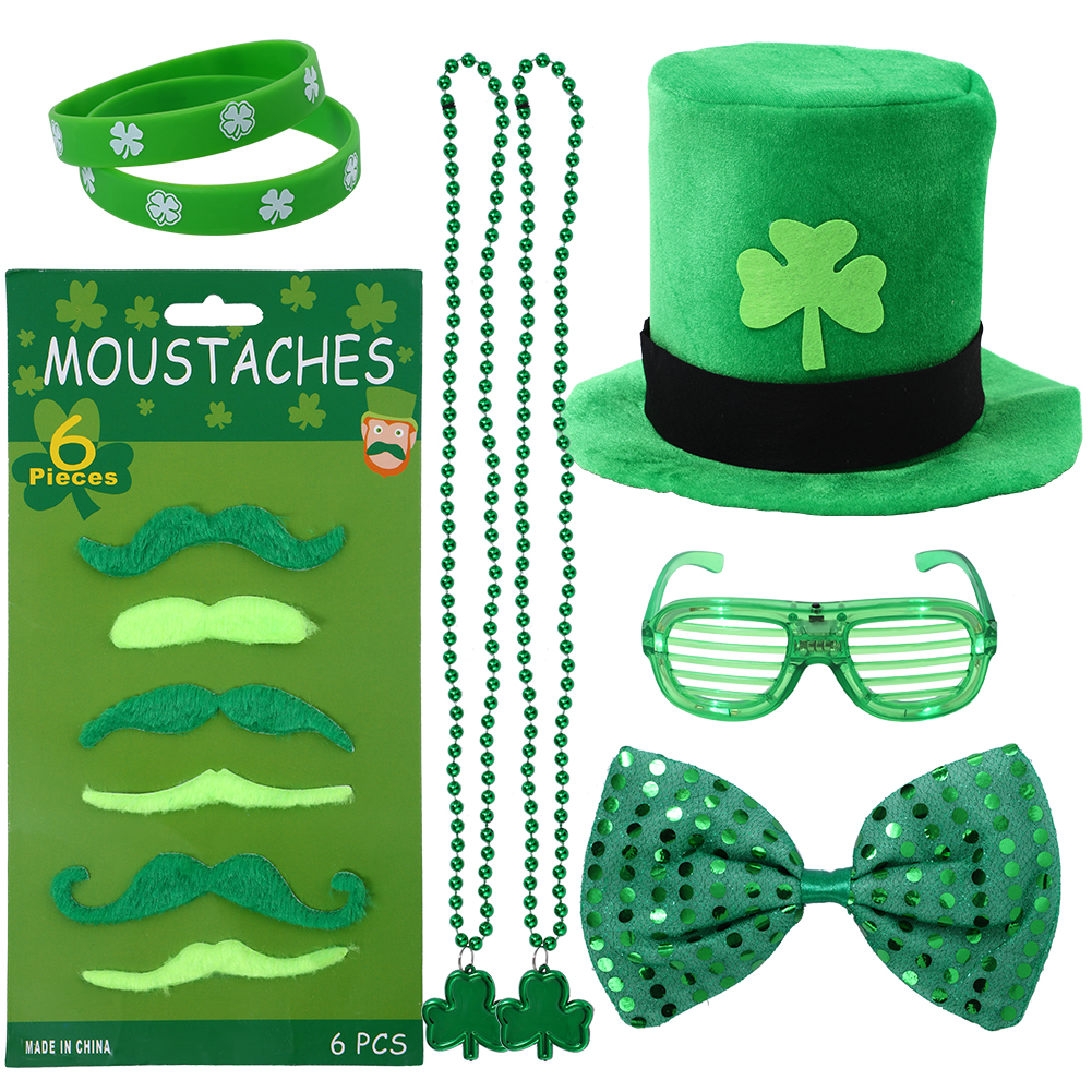 [US Direct] Thinkmax 13pcs ST Patrick's Day Parade Mens and Womens Costume Accessories Set for Irish Day Saint Paddy's Day Celebration Outfit Attire March & Party Events