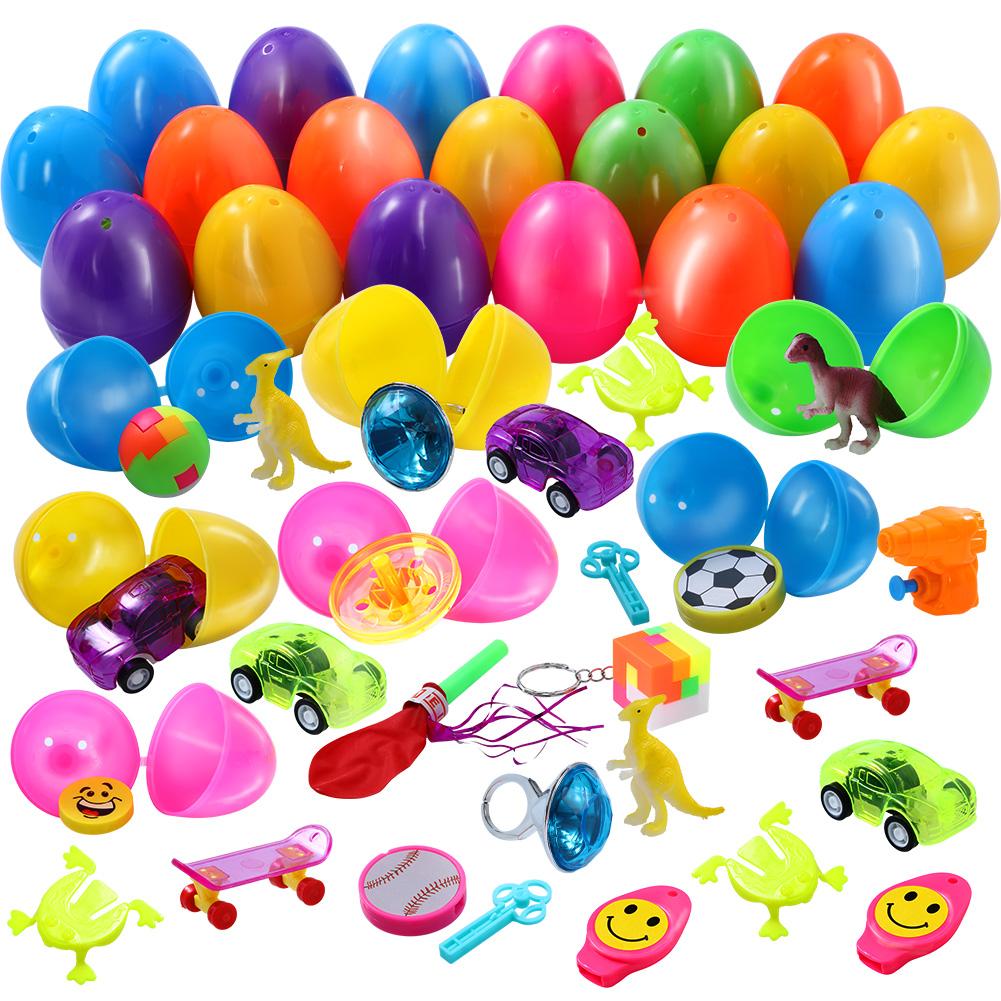 [US Direct] FunsLane 36Pcs Filled Easter Eggs Prefilled Easter Eggs Set Filled with Novelty Toy
