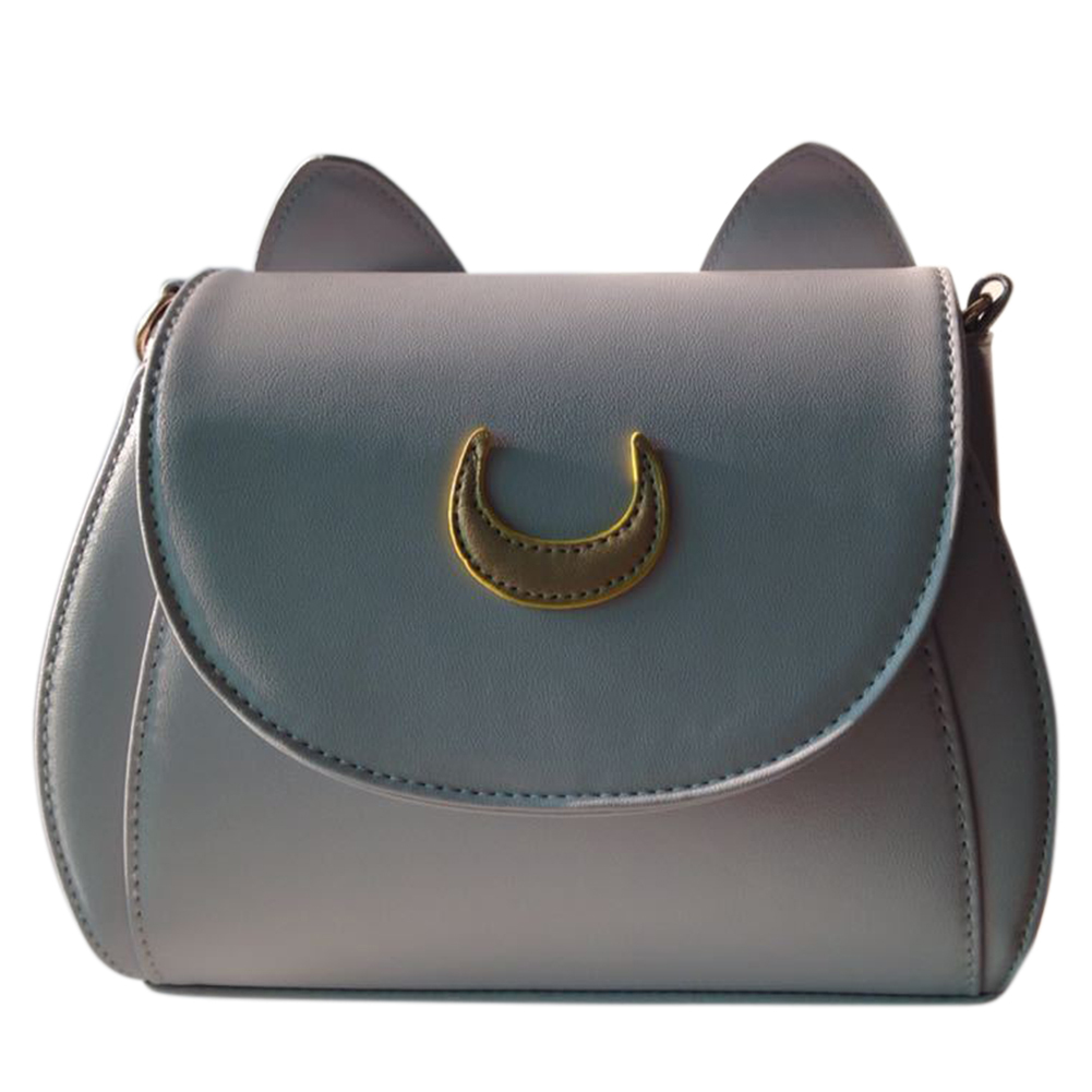 Women's Stylish PU Zipper Shoulder Bag with Moon and Cute Ears, Concise Solid Color Messenger Bag