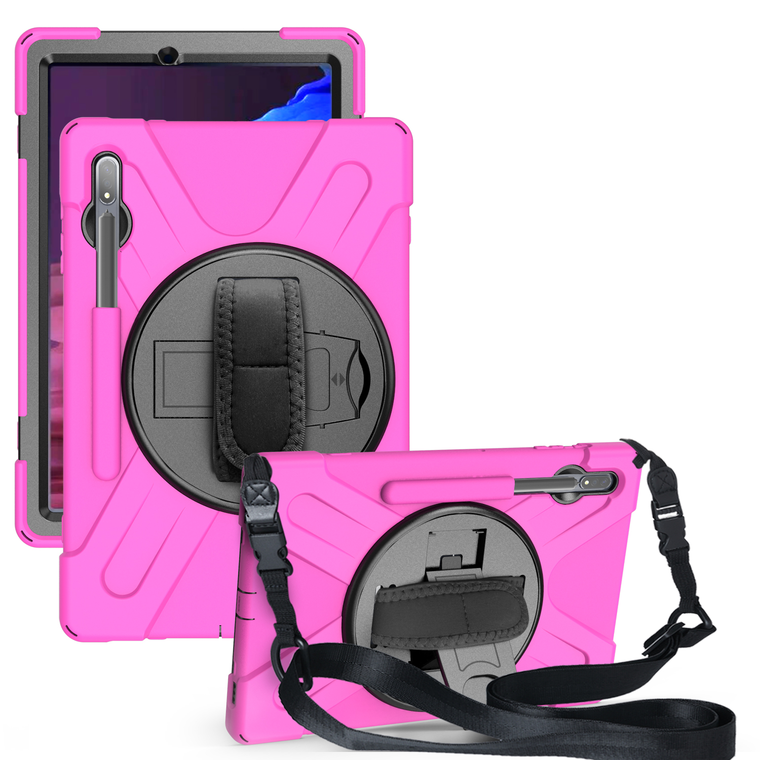 For Samsung Tab S7 T870 /Tab S7 Plus T970/T975 Protective Cover with Pen Slot Anti-fall Belt Holder + Wristband + Straps Rose red_Samsung Tab S7 Plus T970/T975