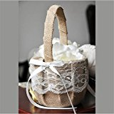 Wedding Ribbon Lace Flower Girl Basket Khaki