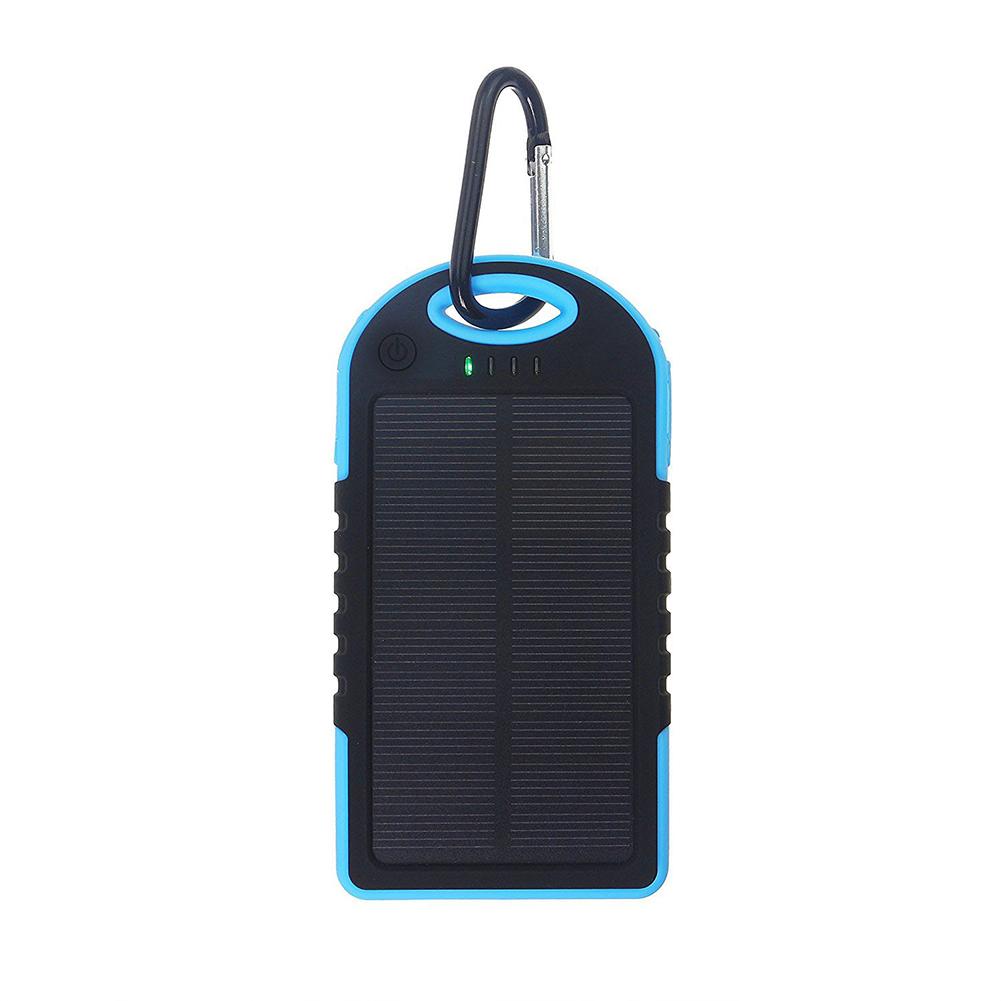 Universal Solar Power Bank 5000mah High-Capacity Solar charger Dual USB Portable External Battery Power Bank with LED Light Blue