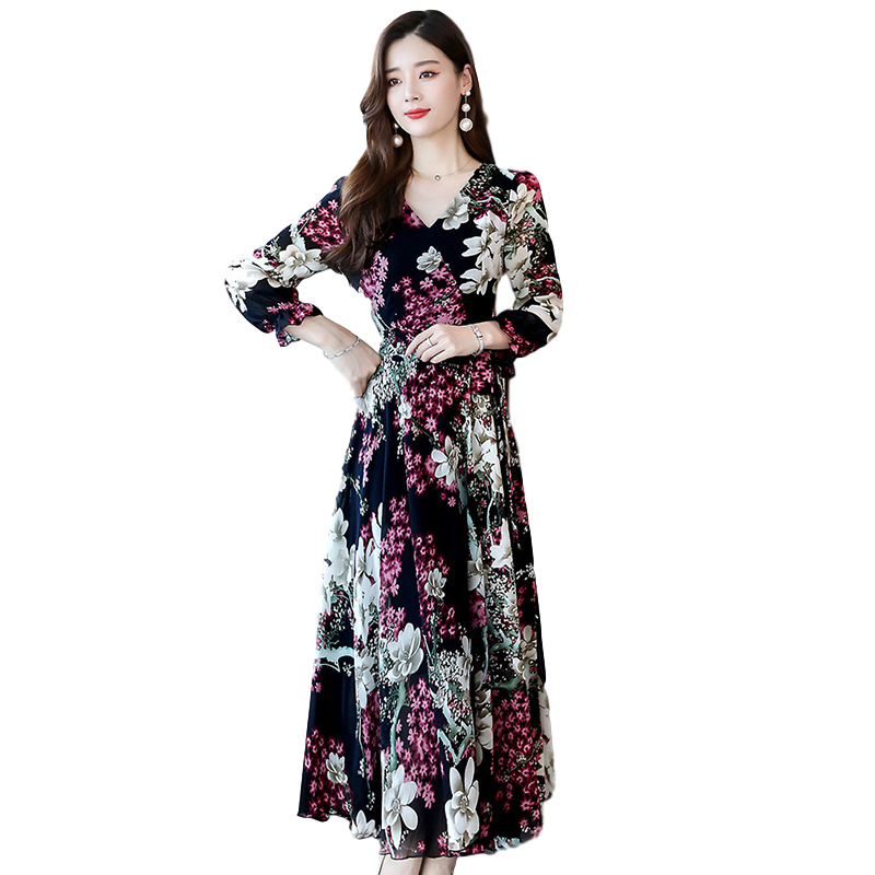 Women Long Sleeve Dress Fall Autumn Floral Printing Waisted V-neck Dress Pink_L