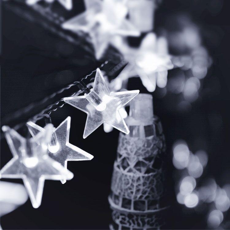 6M 30LEDs Waterproof Five Pointed Star Shape Solar String Light Outdoor Wedding Decor White light_(ME0004801)