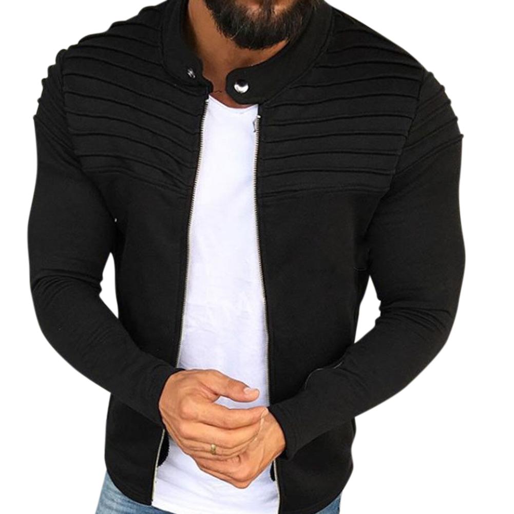 Men Fashion Solid Color Striped Tops Zipper Closure Casual Jacket  black_M