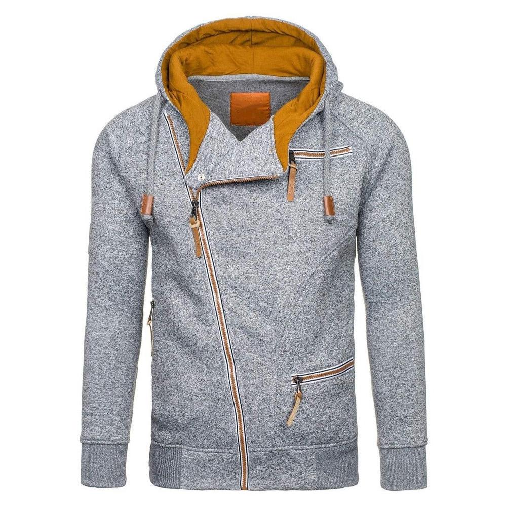 Fashion Men Casual Slanted Zipper Hooded Tops light grey_2XL