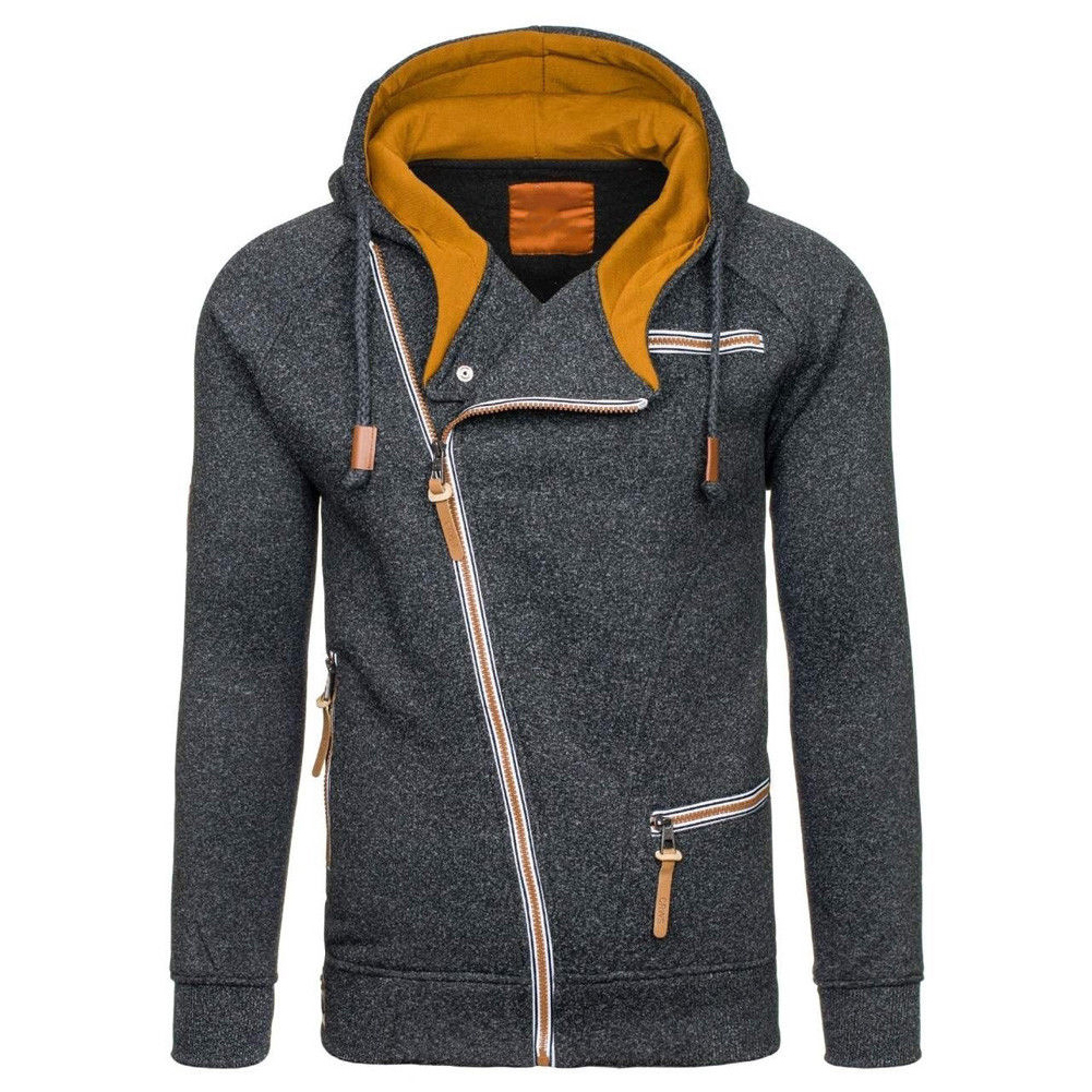Fashion Men Casual Slanted Zipper Hooded Tops black grey_XL