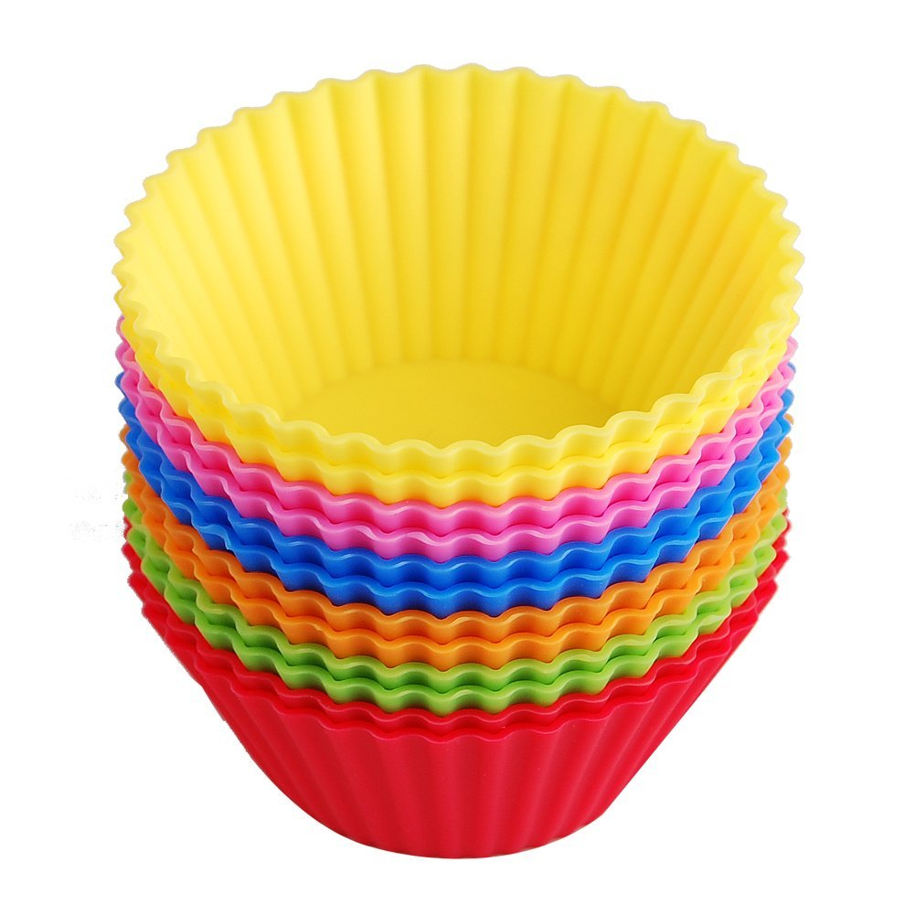24pcs Silicone Baking Cups Cupcake Muffin Liners/Reusable Muffin Molds in Storage Container