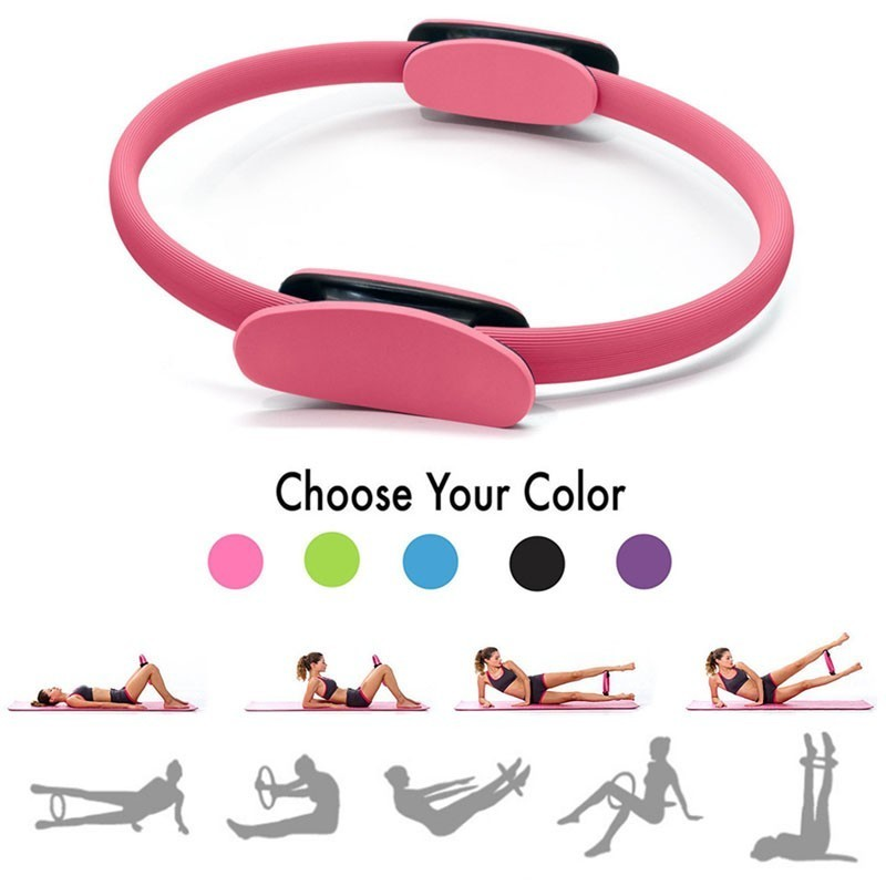 Professional Yoga Circle Pilates Sport Magic Ring Women Fitness Kinetic Resistance Circle Gym Workout Pilates Accessories purple_OPP bag