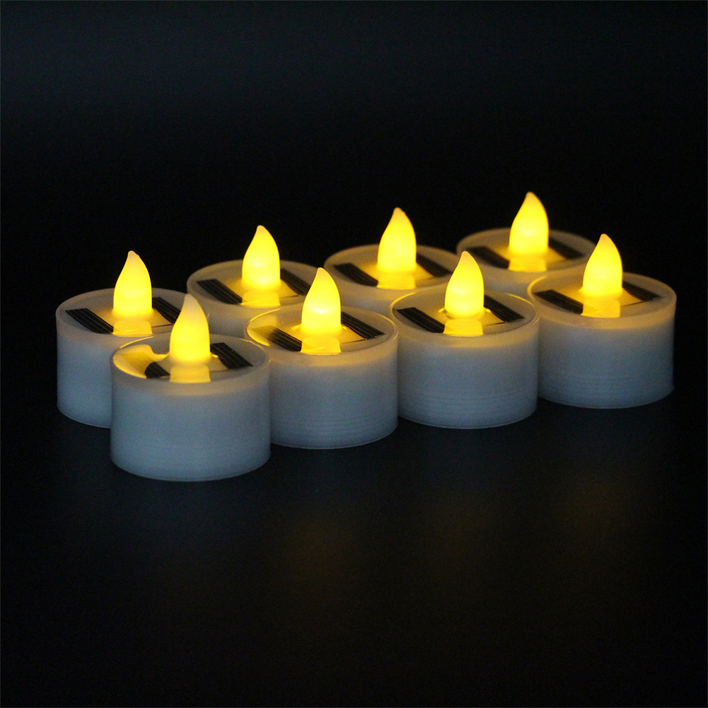 18pcs LED Light Solar Power Electronic Candle Lamp Waterproof Design PP Plastic Shell Yellow light flash