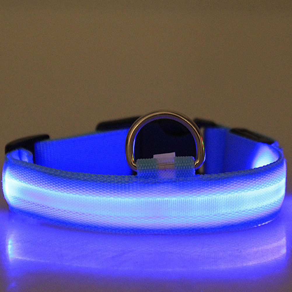 LED Pet Cat Dog Collar Night Safety Luminous Necklaces for Outdoor Walking blue_XL