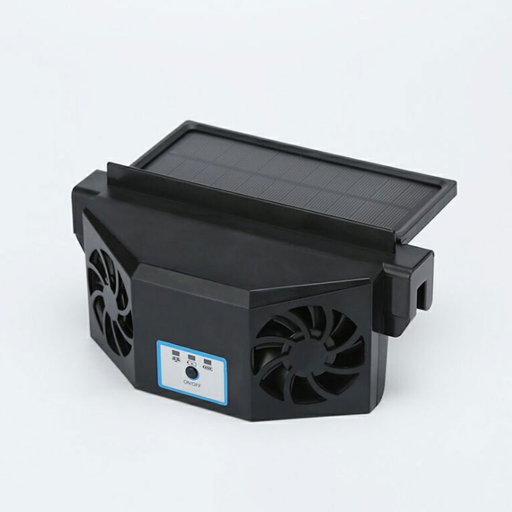 Car Exhaust Fan Solar Powered Car Radiator Air Circulation Cooling Exhaust Fan Black
