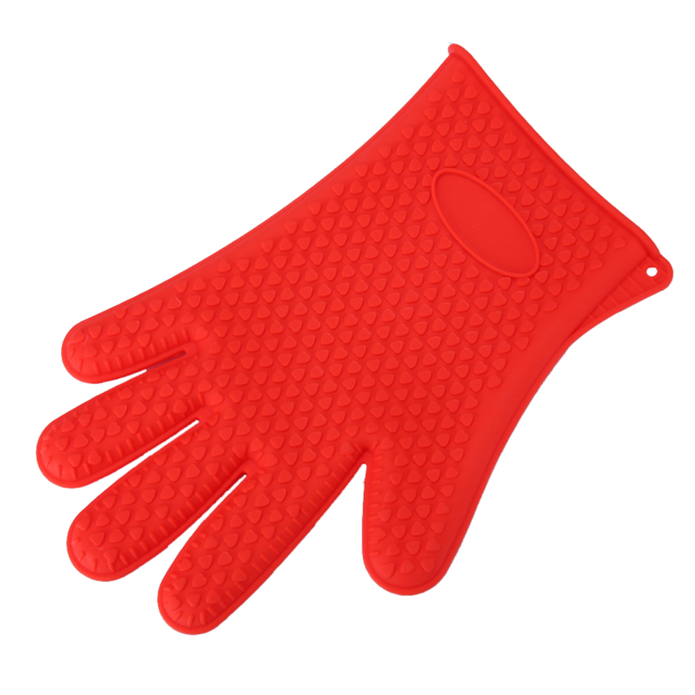 1PC Heat Resistant Microwave Oven Silicone Glove for Baking Kitchen Cleaning red