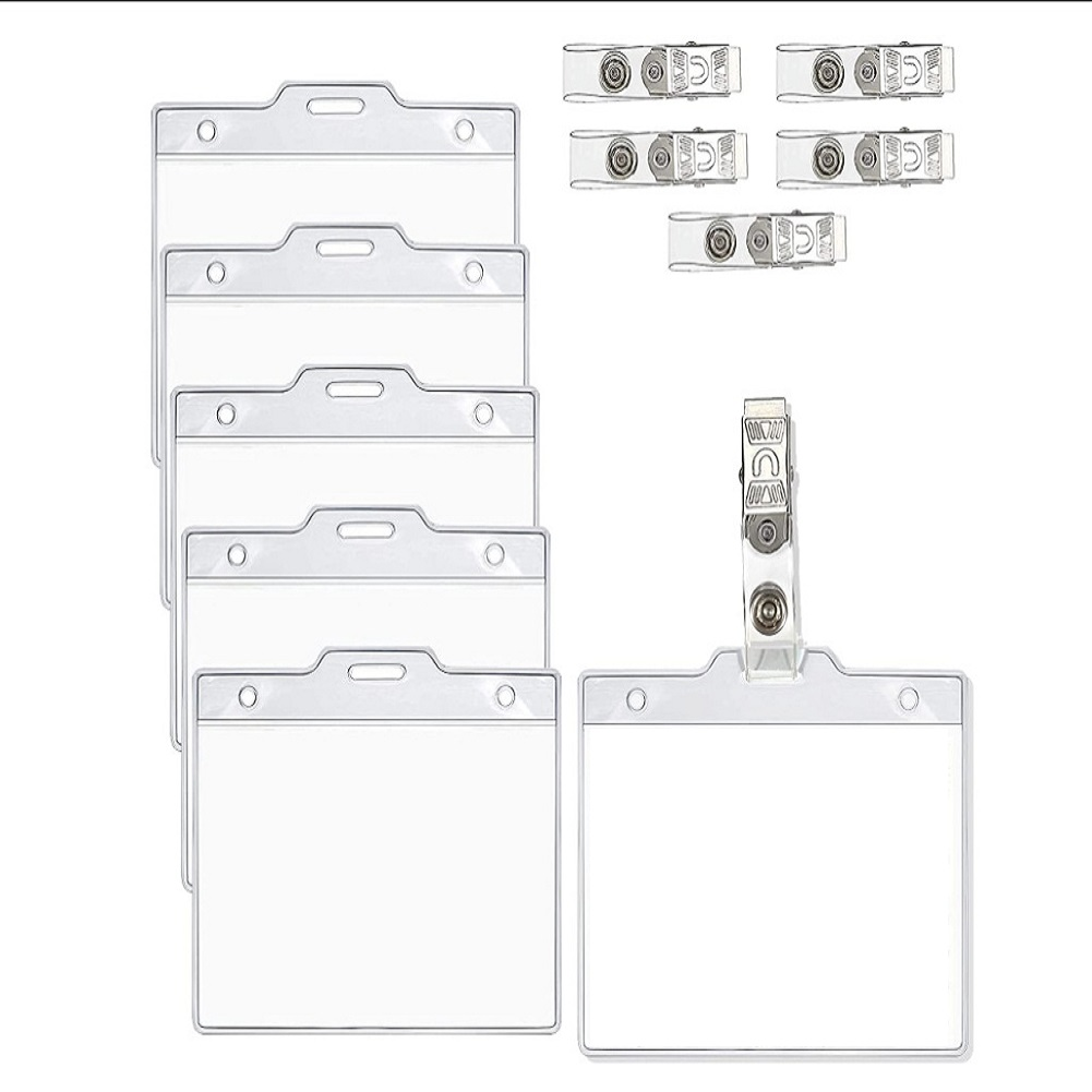 Vaccination Card Protector 4x3 Inches Immunization Record Vaccine Cards Cover Holder Clear Plastic Sleeve 5 sets_Set + clip
