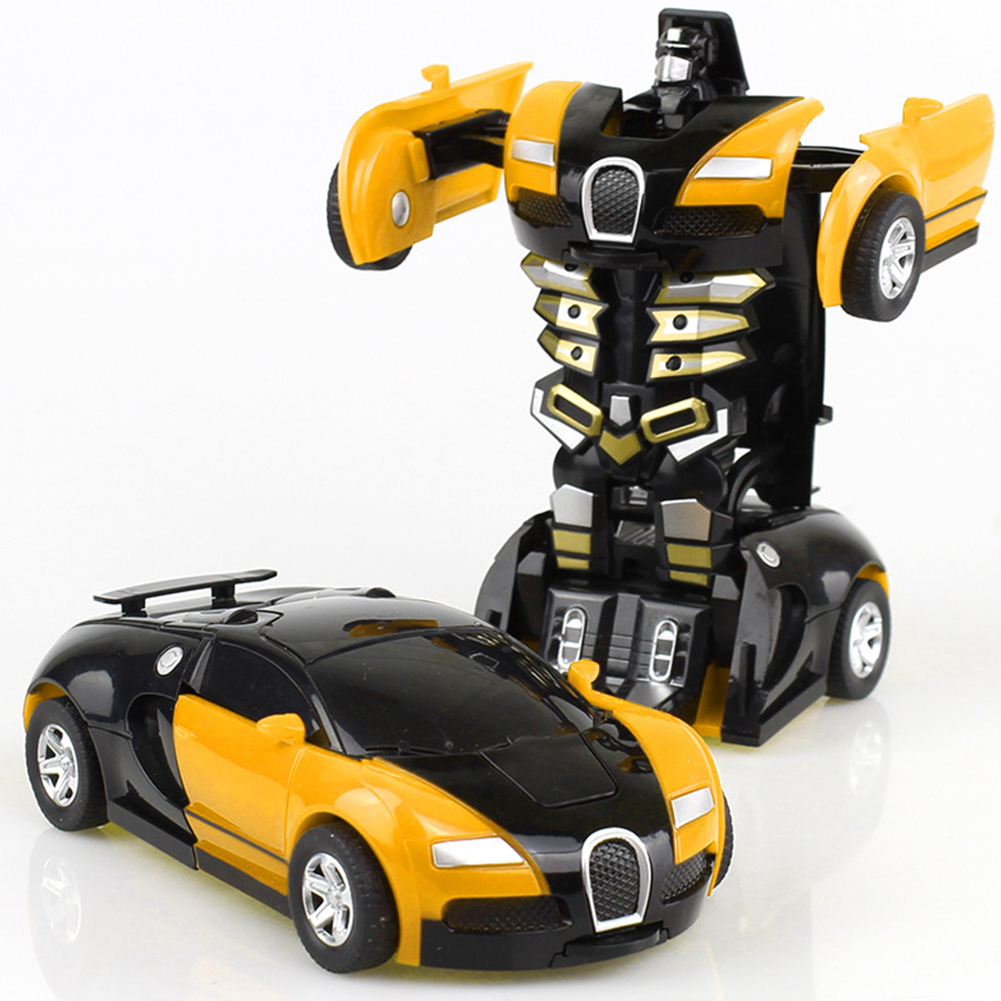 Rescue Bots Deformation Transformer Car One-Step Car Robot Vehicle Model Action Figures Toy Transform Car for Kids yellow