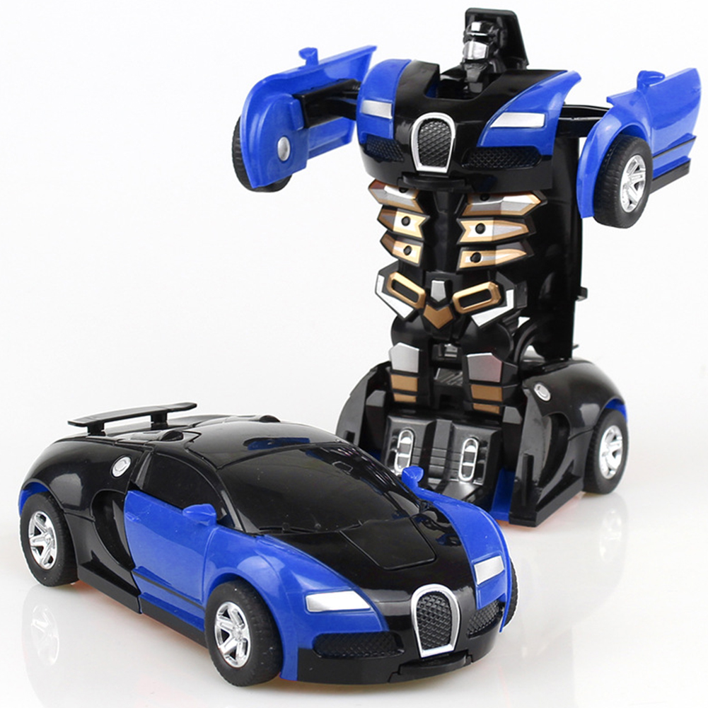 Rescue Bots Deformation Transformer Car One-Step Car Robot Vehicle Model Action Figures Toy Transform Car for Kids blue
