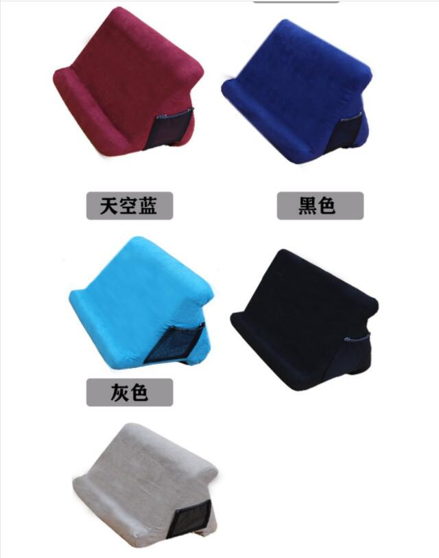 Multi-Angle Pillow Tablet Read Holder Stand Foam Lap Rest Cushion for Pad Phone Sapphire blue_With net pocket