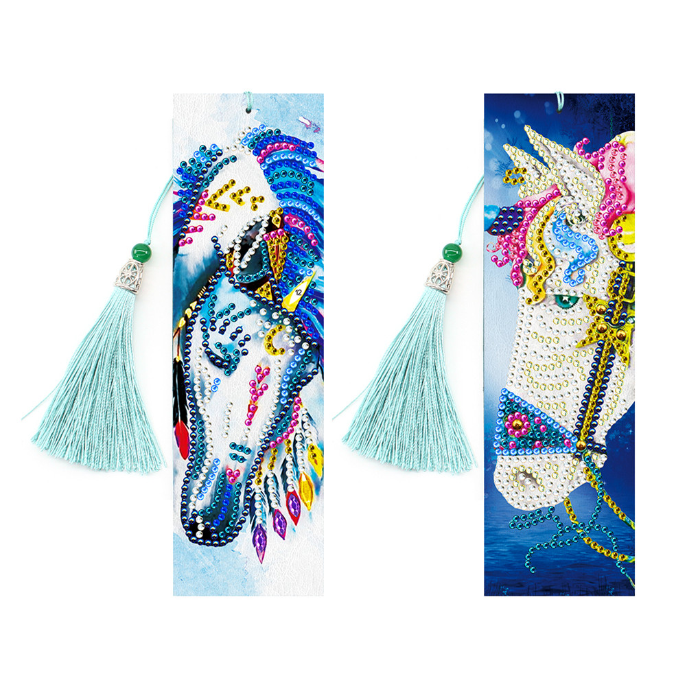 2Pcs 5D DIY Bookmark Diamond Painting Leather Tassel Book Marks Special Shaped Diamond Embroidery SQ03