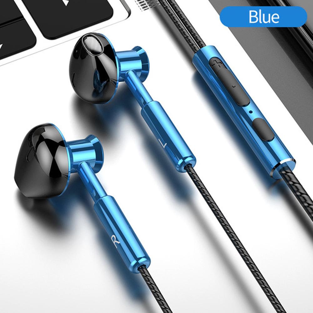 T2 Wired Headphones In-ear Sport Mobile Headphones 3.5mm Metal Headset Stereo Earphones With Mic blue