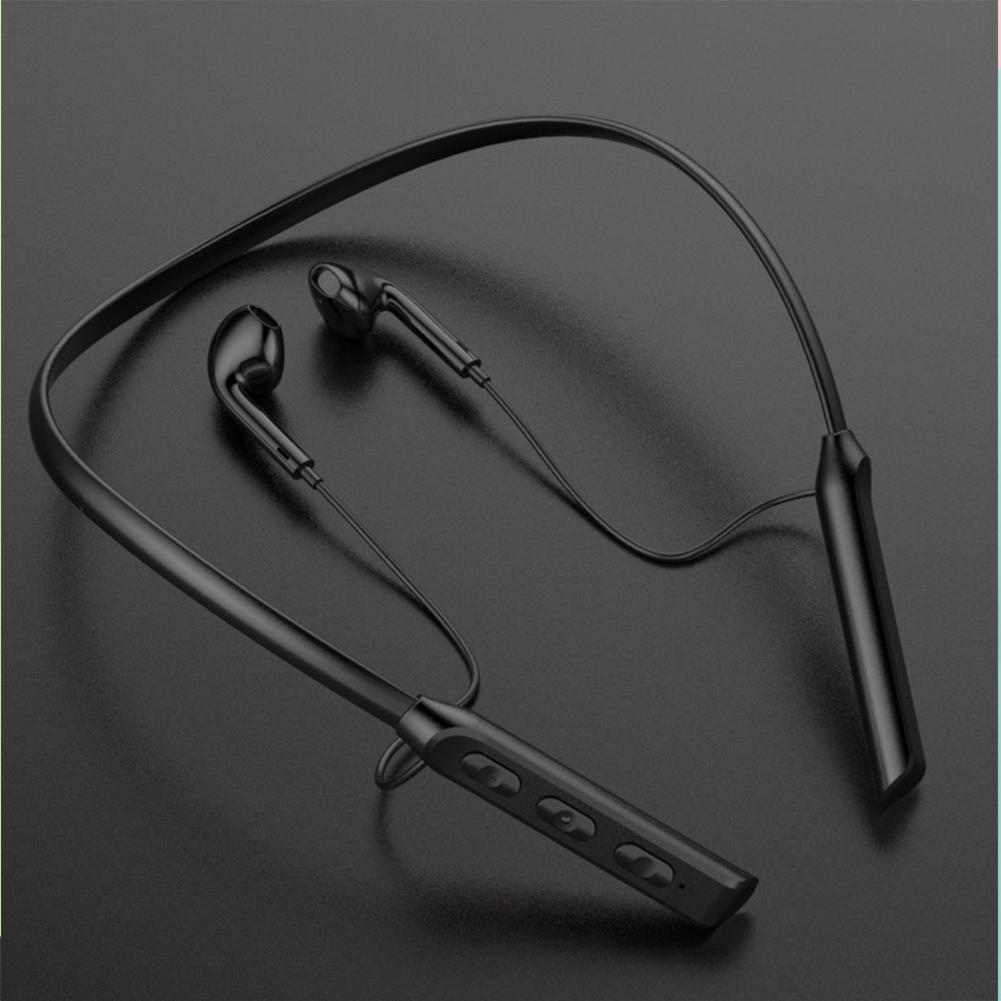 Wireless Bluetooth Headset Hanging Neck Band Anti-drop Sports Earphones black