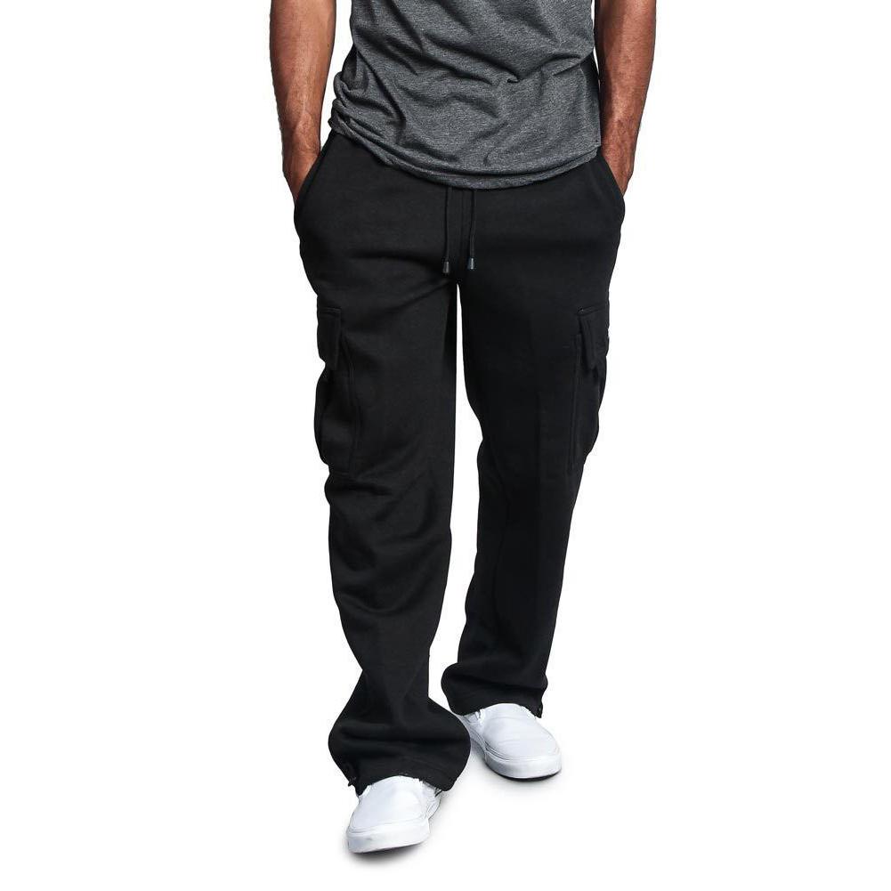 Men Casual Sports Multi Pockets Loose Straight Overalls Pants black_XXL