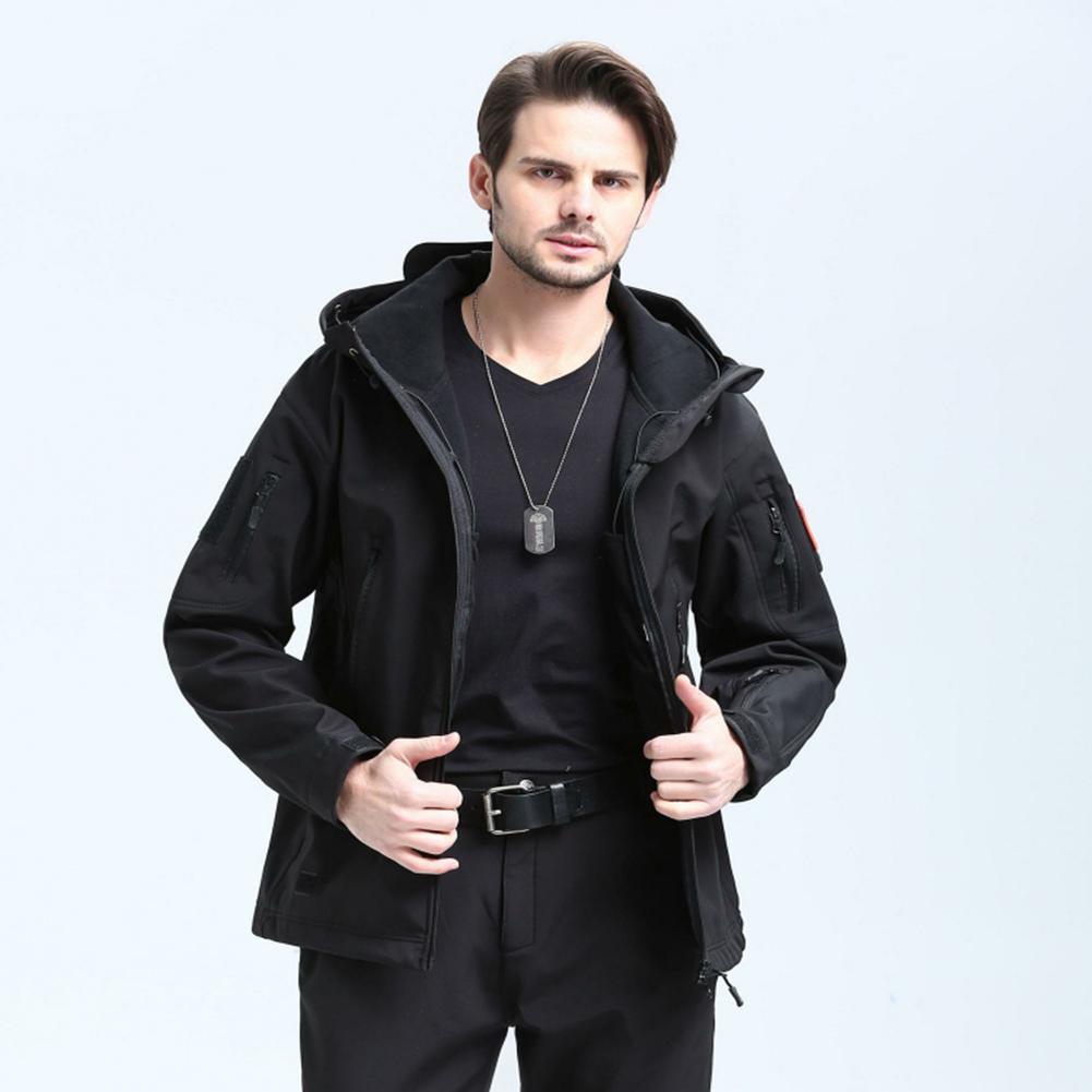 Men Outdoor 3 in 1 Waterproof Fleece Jacket black_M