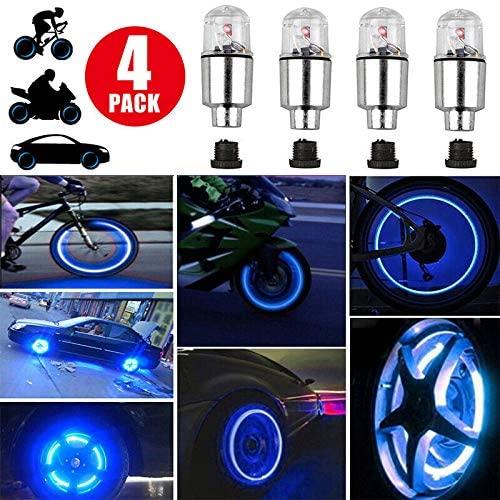 4 Pcs/set Alloy Silver Plated Automobile Hot Wheels Dual Sensor Valve Tire Lights Wheel  Decoration  Lights Blue