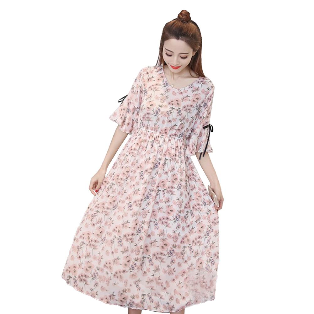 Maternity Summer Dress Chiffon Loose Long Skirt Chiffon Polka Dots Summer Pregnancy Clothes Maternity Dresses (Pregnant Woman Version) Pink_M