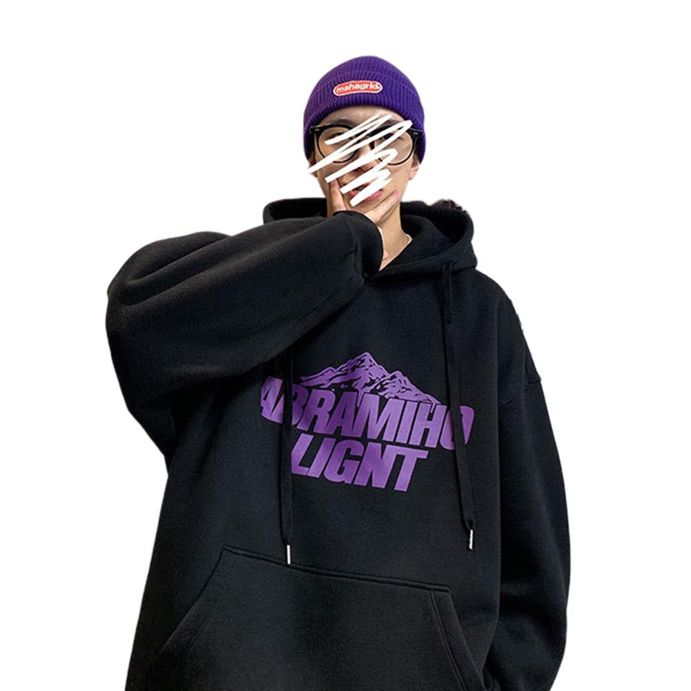 Men Women Hoodie Sweatshirt Snow Mountain Letter Printing Fashion Loose Pullover Casual Tops Black_L